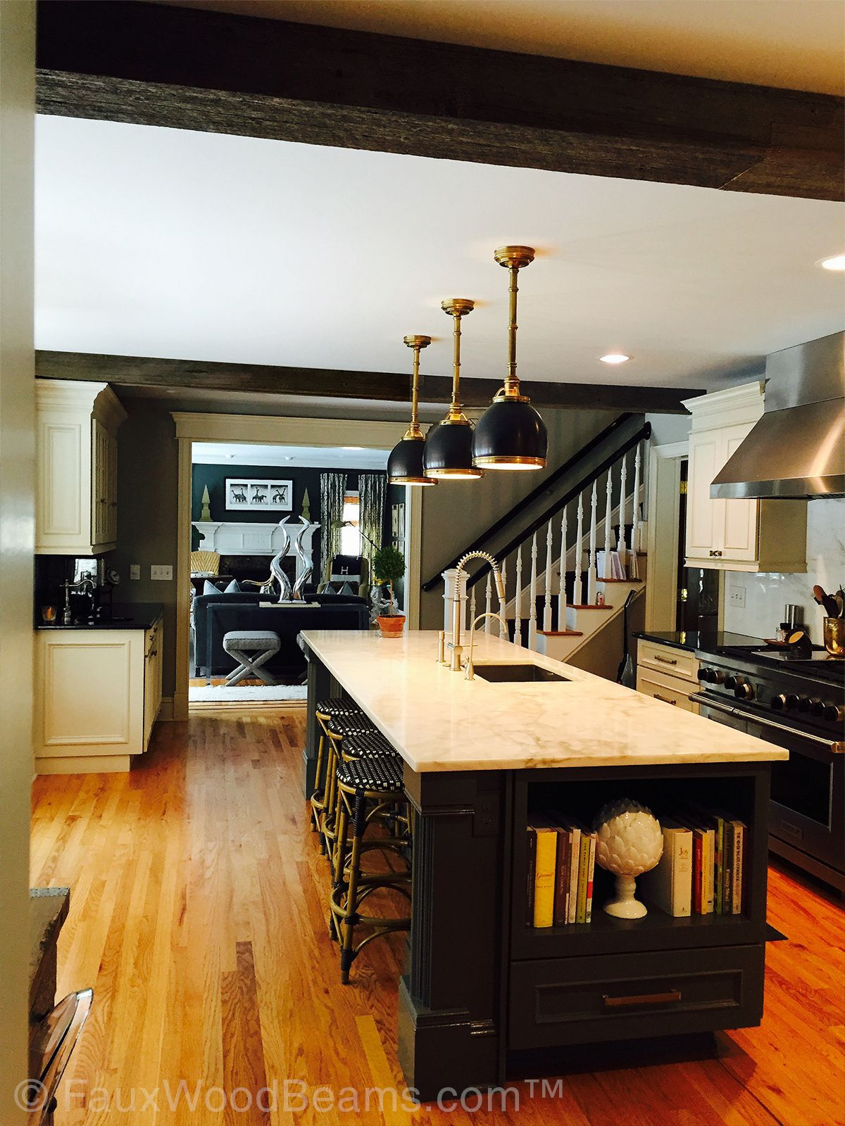 Kitchen And Living Room Design Ideas: Photos, Ideas With Real Wood Box Beams