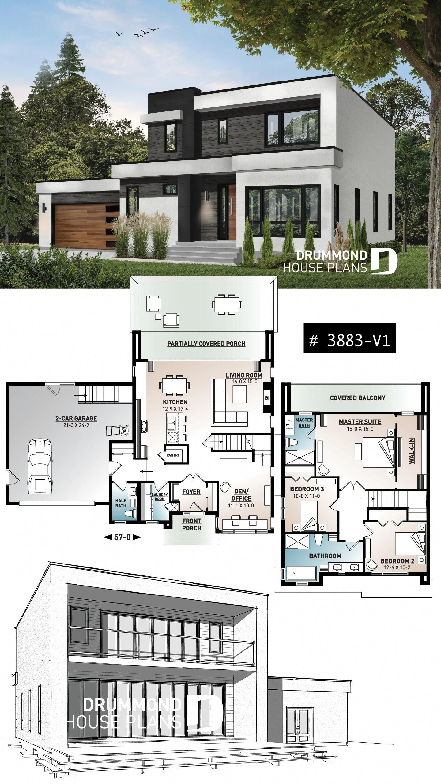 Discover The Plan 3883 V1 Essex 2 Which Will Please You For Its 3 Bedrooms And For Its Contemporary Styles Modern House Floor Plans Contemporary House Plans Modern House Plans