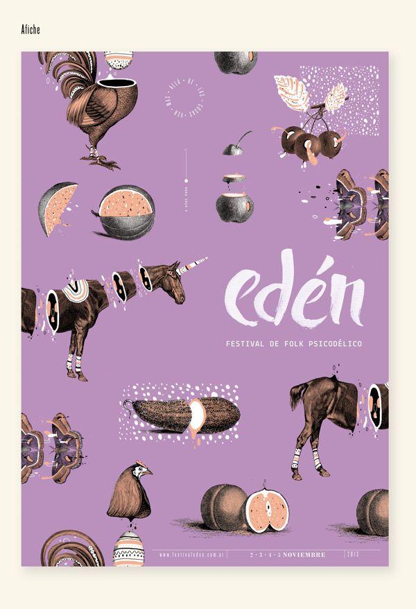 EDÉN Festival de folk psicodélico by Micaela Podržaj, via Behance #design #graphicdesign #poster
