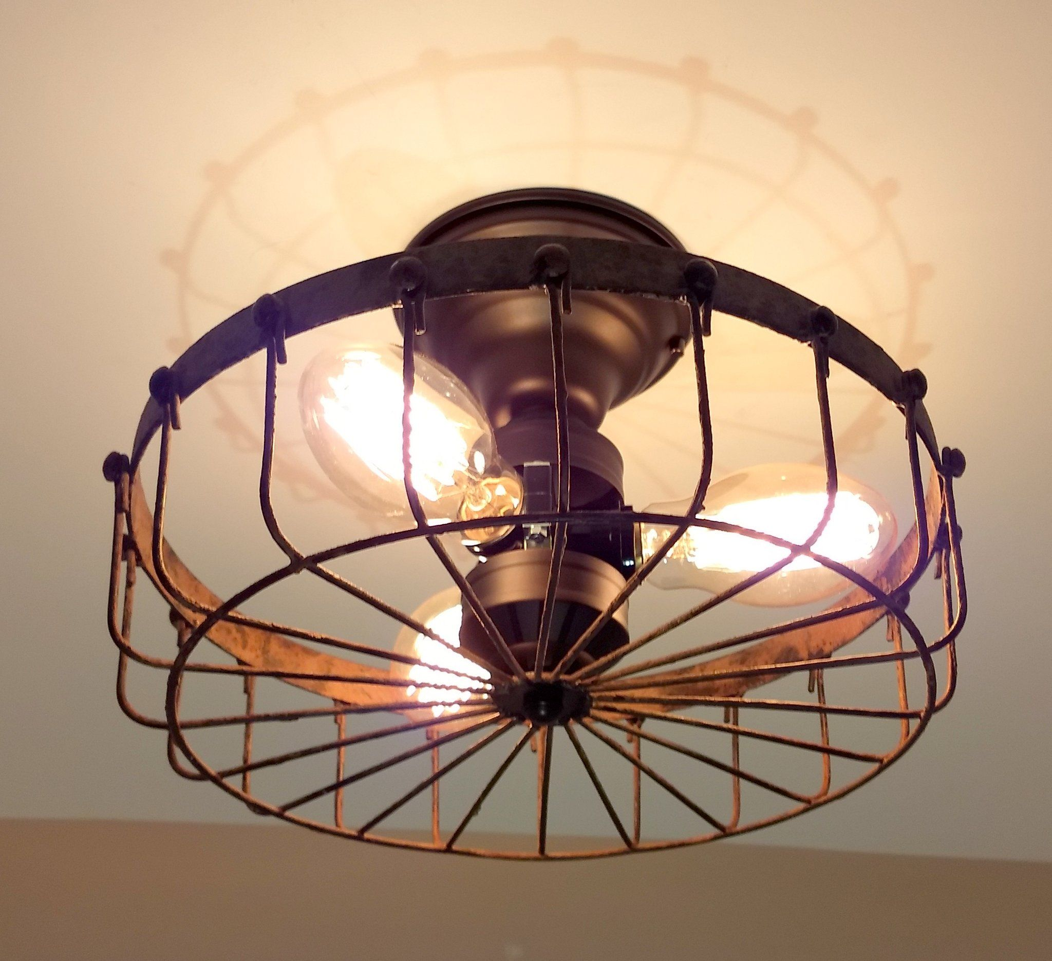 Rustic Industrial Flush Mount Ceiling Light Cage The Lamp Goods Industrial Light Fixtures Industrial Ceiling Lights Farmhouse Light Fixtures