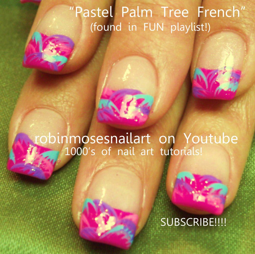 Nail-art by Robin Moses PASTEL PALMS http://www.youtube.com/watch?v=IMKVD3_J0X0