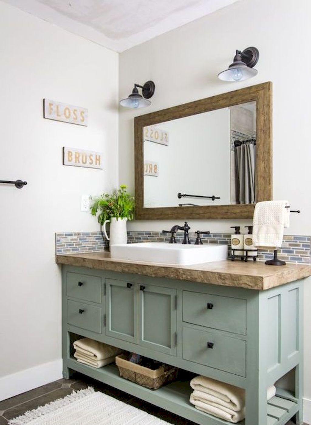 50 Stunning Farmhouse Bathroom Remodel Ideas On A Budget Wooden Bathroom Vanity Farmhouse Bathroom Vanity Wooden Bathroom