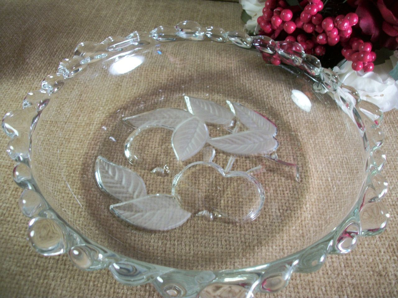 Clear Pressed Glass Bowl Scalloped Edge Deep Dish Cherry Design Fruit Bowl Serving Dish Vintage 1970's Entertaining Tableware Centerpiece