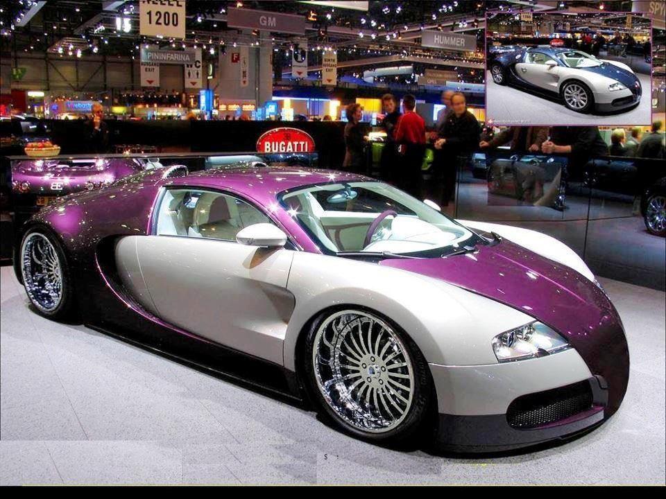 Purple and white Bugatti