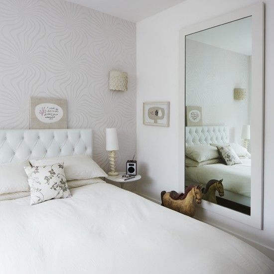 Elegant White Bedroom With Subtle Pattern White Bedroom Design Ideas Bedroom Photo Gallery