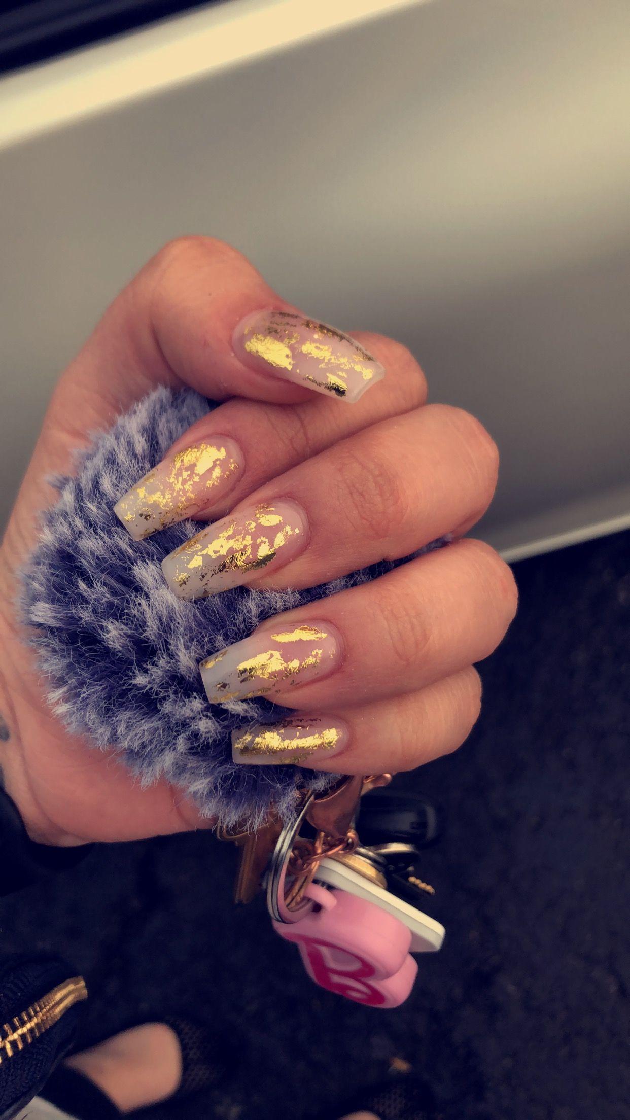 Gold Flake Coffin Tip Nails Gold Nails Gold Flakes Nail Tips