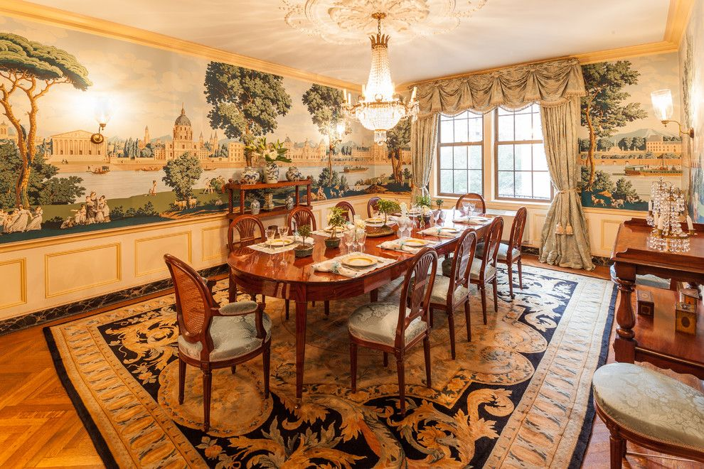 Scenic Wallpaper Mural In This Park Avenue Dining Room Looks Almost Hand Painted A French Table And Savonnerie Style Carpet Completes The Whole