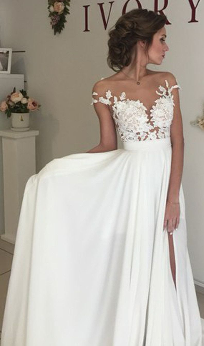 Elegant illusion bateau sweep train wedding dress with appliques