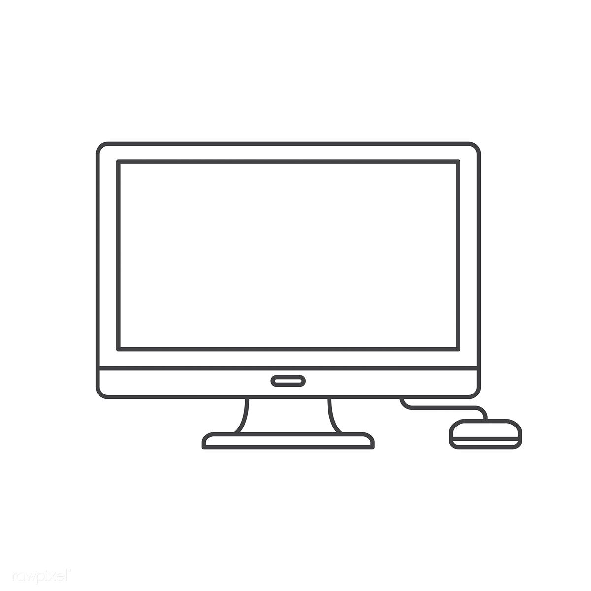 Vector Of Computer Digital Device Free Image By Rawpixel Com Computer Logo Computer Icon Mini Drawings