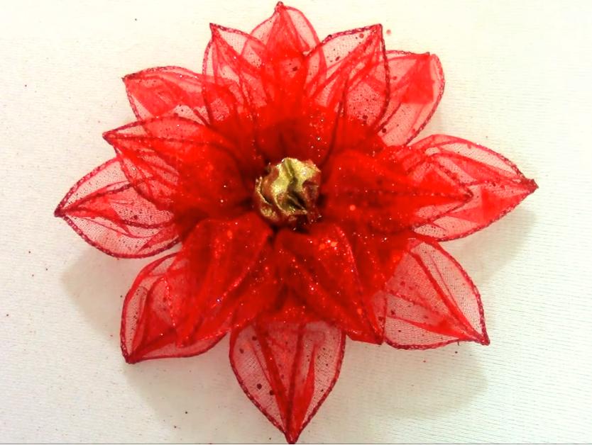 Cómo Hacer Flores De Navidad En Cintas Alambradas Flor De Navidad Flor Navideña Navidad