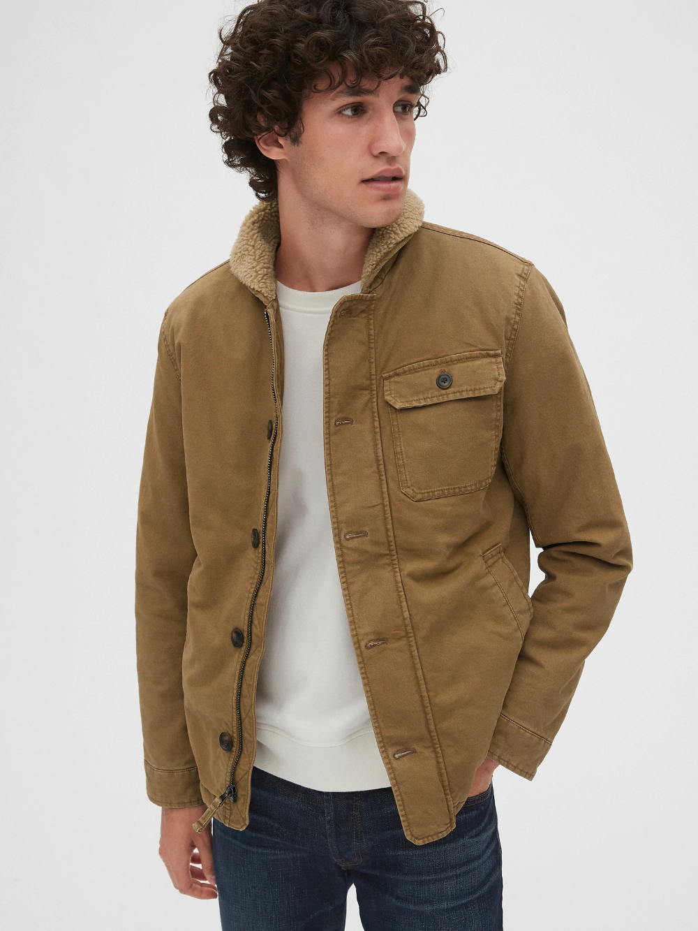 Sherpa Lined Deck Jacket Gap Men S Coats And Jackets Jackets Sherpa Jacket Mens Outfit [ 1333 x 1000 Pixel ]