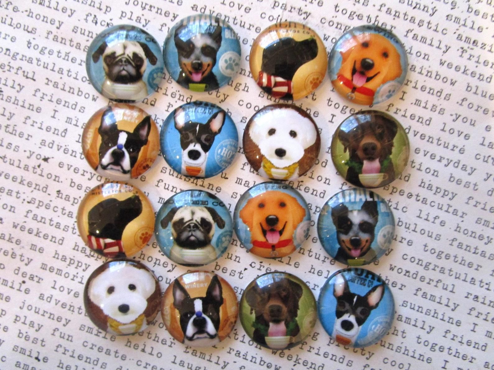 Fun Dog Magnets 6 To 12 Strong Fridge Magnets 3 4 Dog Magnets Holiday Stocking Stuffer Glass Magnets