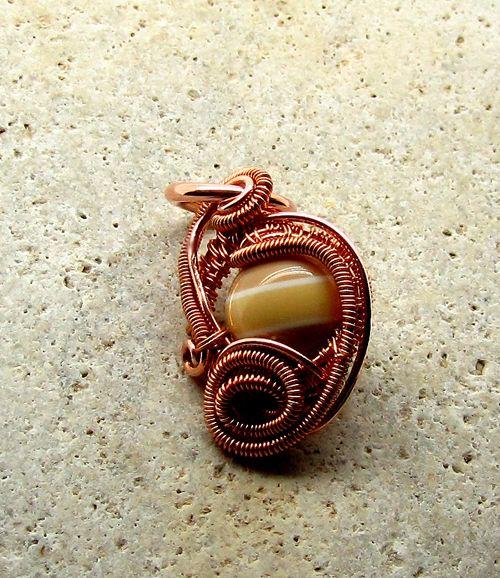 Pantone Copper Pendant Wire Wrapped