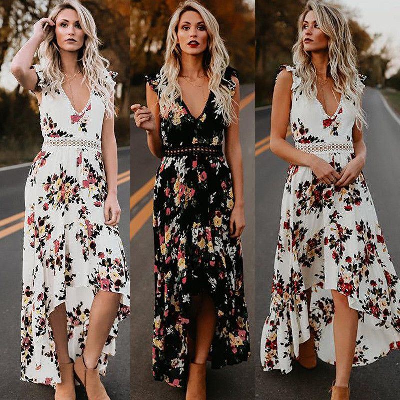 Women's Clothing Women Boho Floral Printed Maxi Long Dress Crew Neck Summer Evening Party Beach Holiday Sundress Ethnic Style Vintage Dresses New