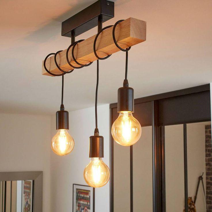 Ceiling Light 3 Lights Wood Black L55cm Townshend Chandelier And Ceiling Light Eglo Des Industrial Ceiling Lights Ceiling Lamps Living Room Home Lighting