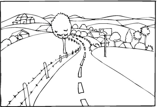 free landscape coloring pages - Landscape Coloring Pages