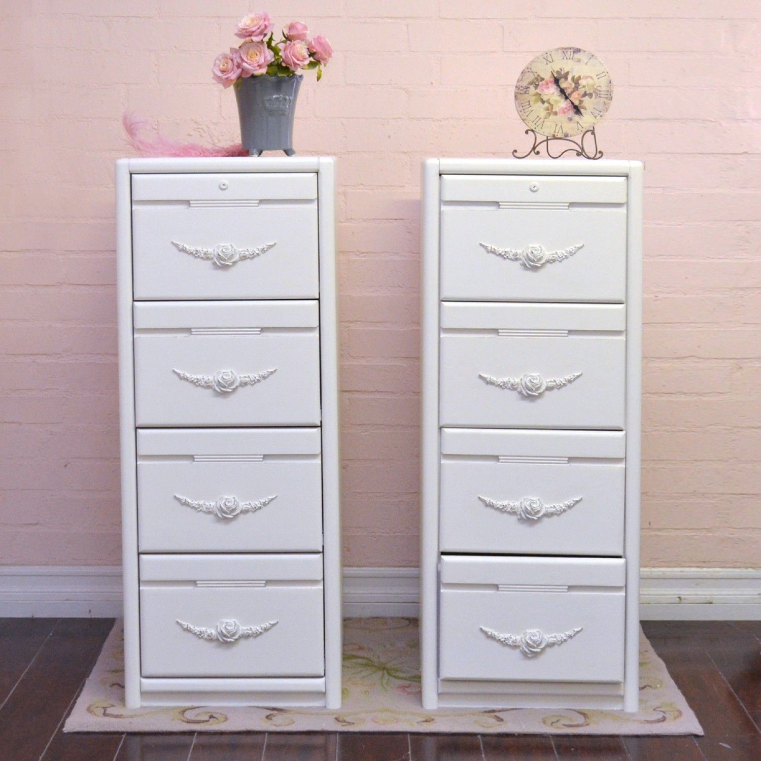 Single 4 Drawer Tall File White Cabinet Vintage Style Furniture Filing Cabinet Dressing Room Decor White 4 drawer filing cabinet