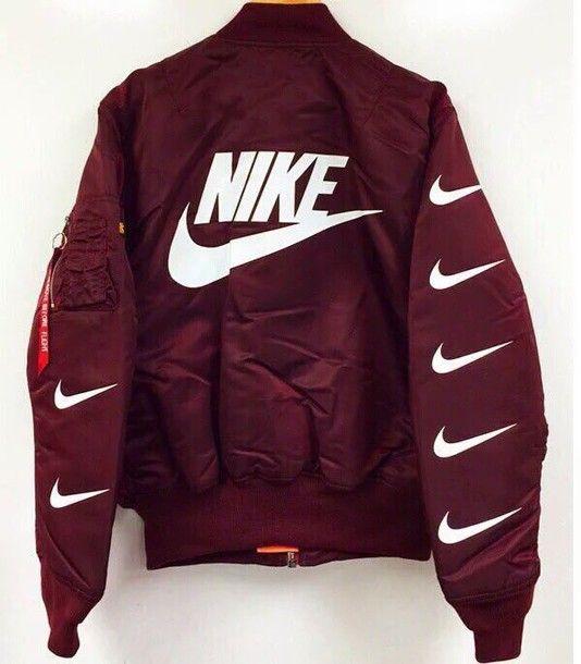 341bff0d0133 Wheretoget - Burgundy red Nike bomber jacket