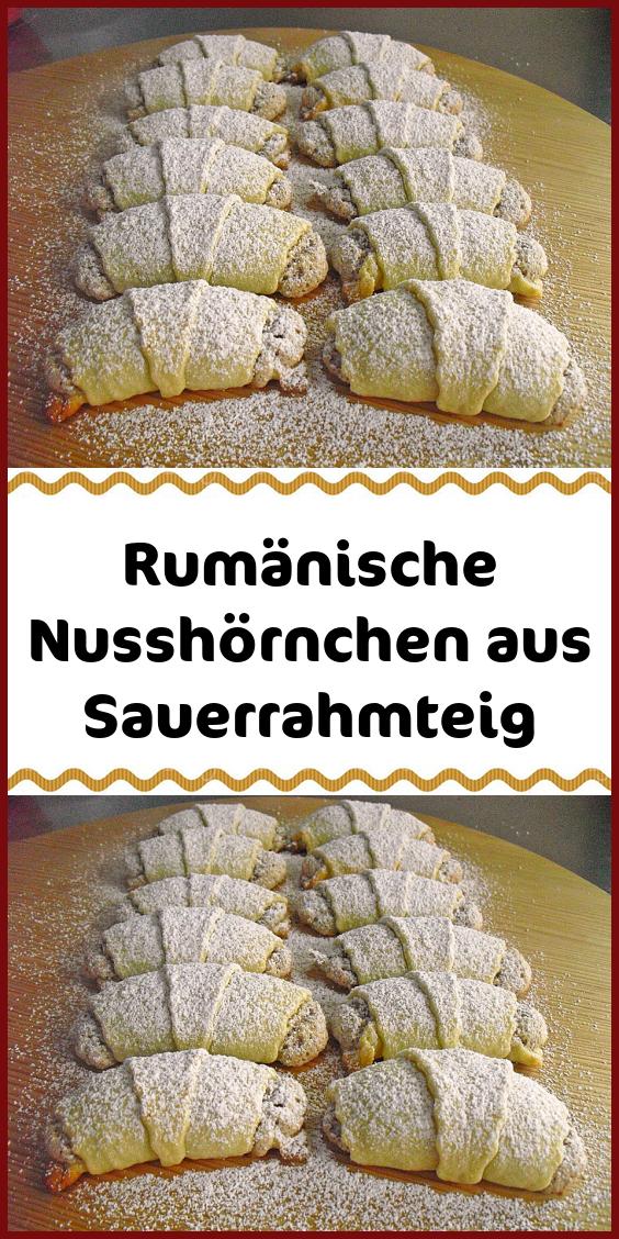 Rumänische Nusshörnchen aus Sauerrahmteig #donutcake