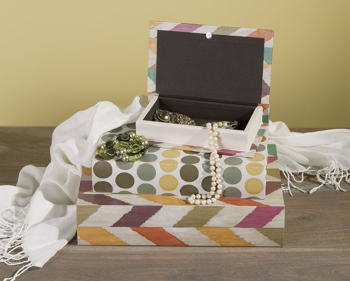 Book boxes are good for holding jewelry on your dresser. Pictured: from O Magazine's Oprah's Favorite Things 2015 - Confetti Book Boxes by IMAX