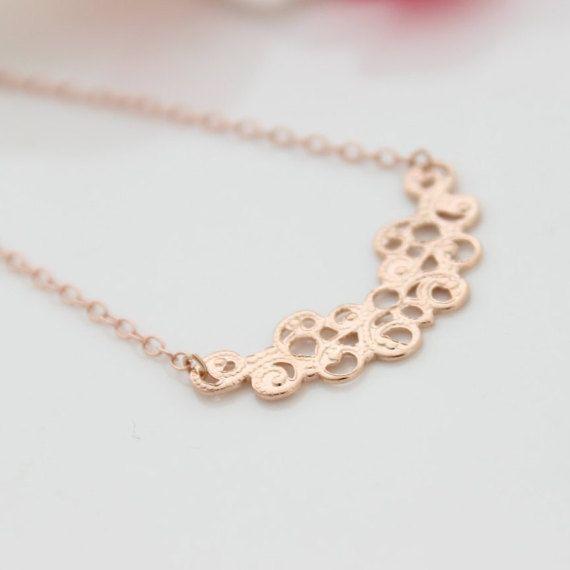 Dainty Rose Gold Necklace  Lacy rose gold by VestigiaFortuna