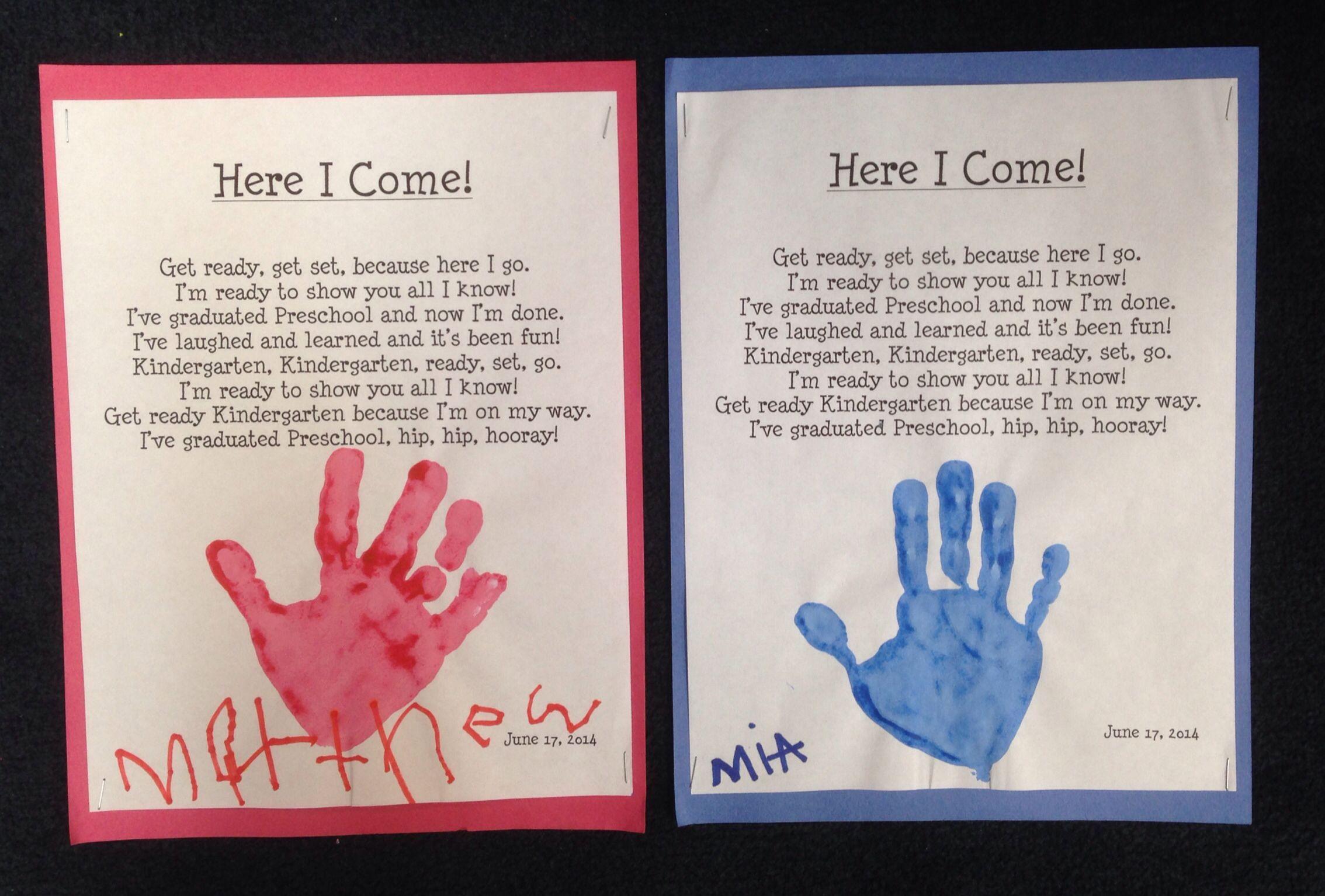 Here I Come Pre K Graduation Poem With Handprint