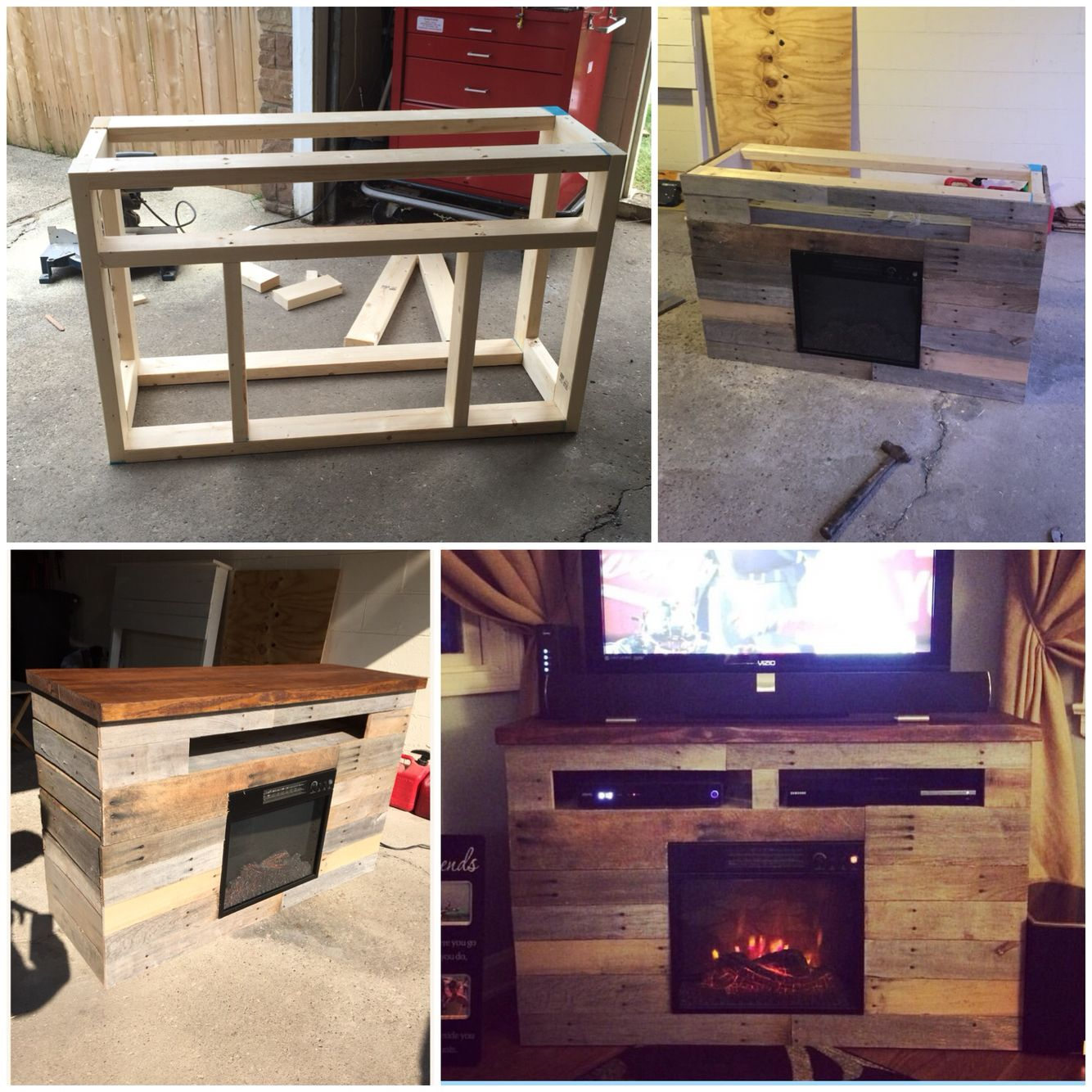 Cheap electric fireplace tv stand - Diy Electric Fireplace Tv Stand Entertainment Center Pallet Skid