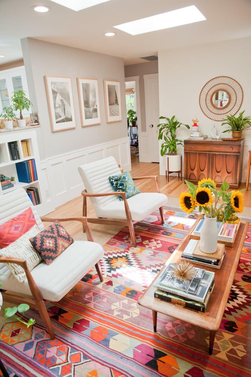 wohnzimmer einrichten teppich : House Tour A Cheery Patterned Oasis In California Wohnzimmer