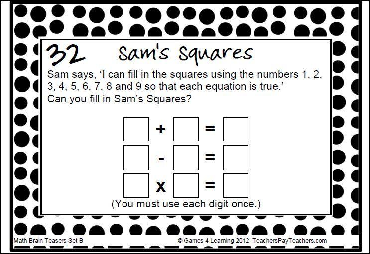 Math Task Cards: Math Problems and Math Brain Teasers