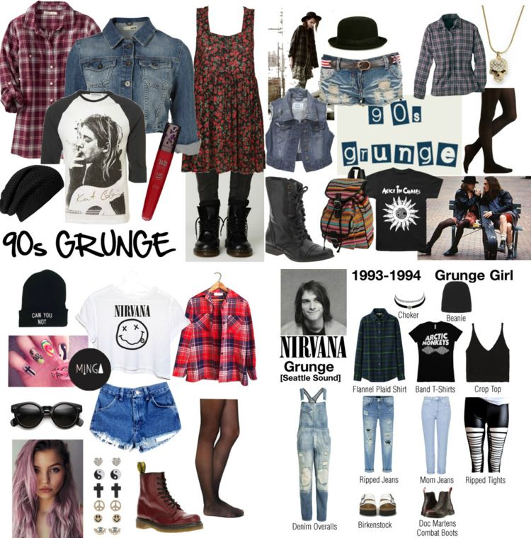 90er Jahre Party Frau Outfit Nirvana Grunge Style Clothes