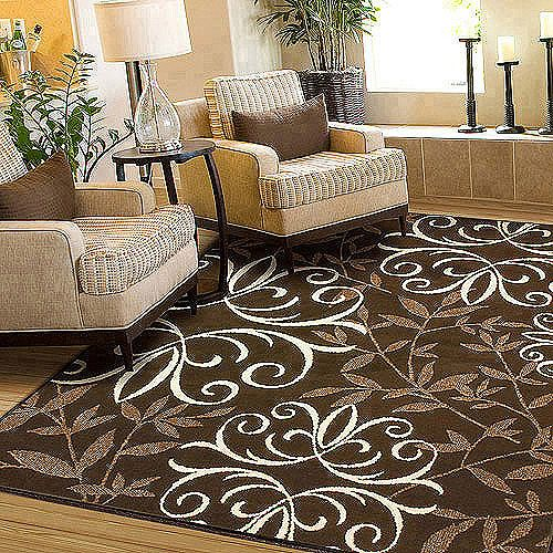 Orian Iron Fleur Rug Chocolate - 5'3 x 7'6 - $76, and 2'7 x 3'9 - $26 for front door.