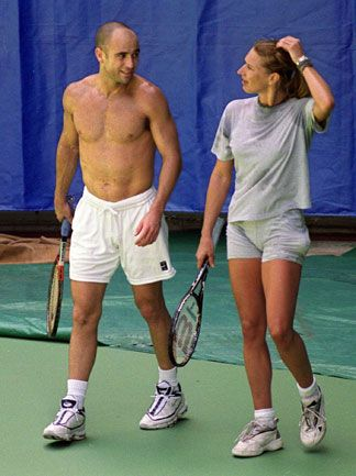 Andre Agassi standing on the Tennis Court without Shirt High Quality Photo