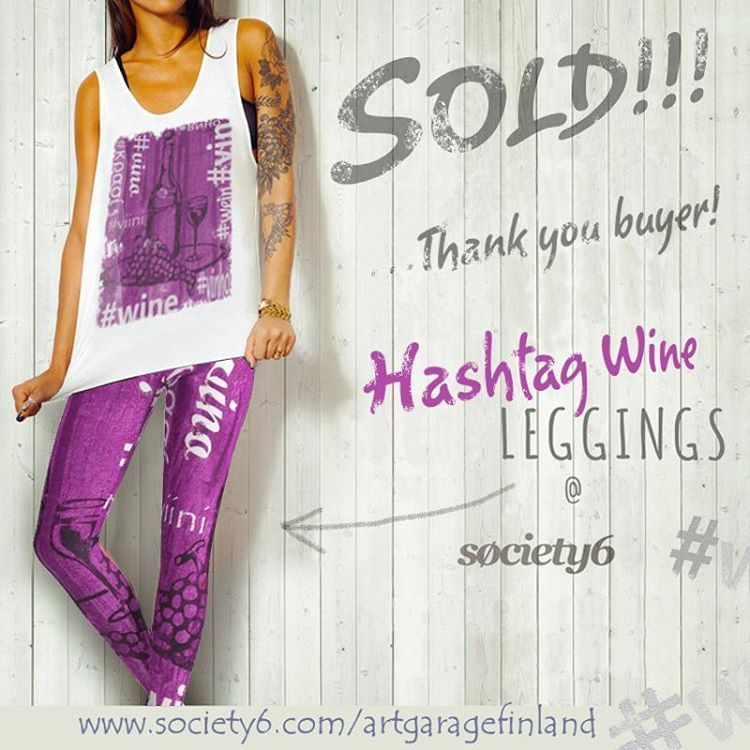 Sold!!!  ..thanks to the recent buyer of these 'Hashtag Wine' leggings from my @society6 webshop. #society6leggings #hashtaghogan #thankyou #instadesign #design #artist #sold #shareyoursociety6 #instaart #вино #vino #hashtagwine #wine #grapes #viini #vin #wein #art #instaart #artistsofinstagram #hoganfinland #instalike #instalikes #konst #taide