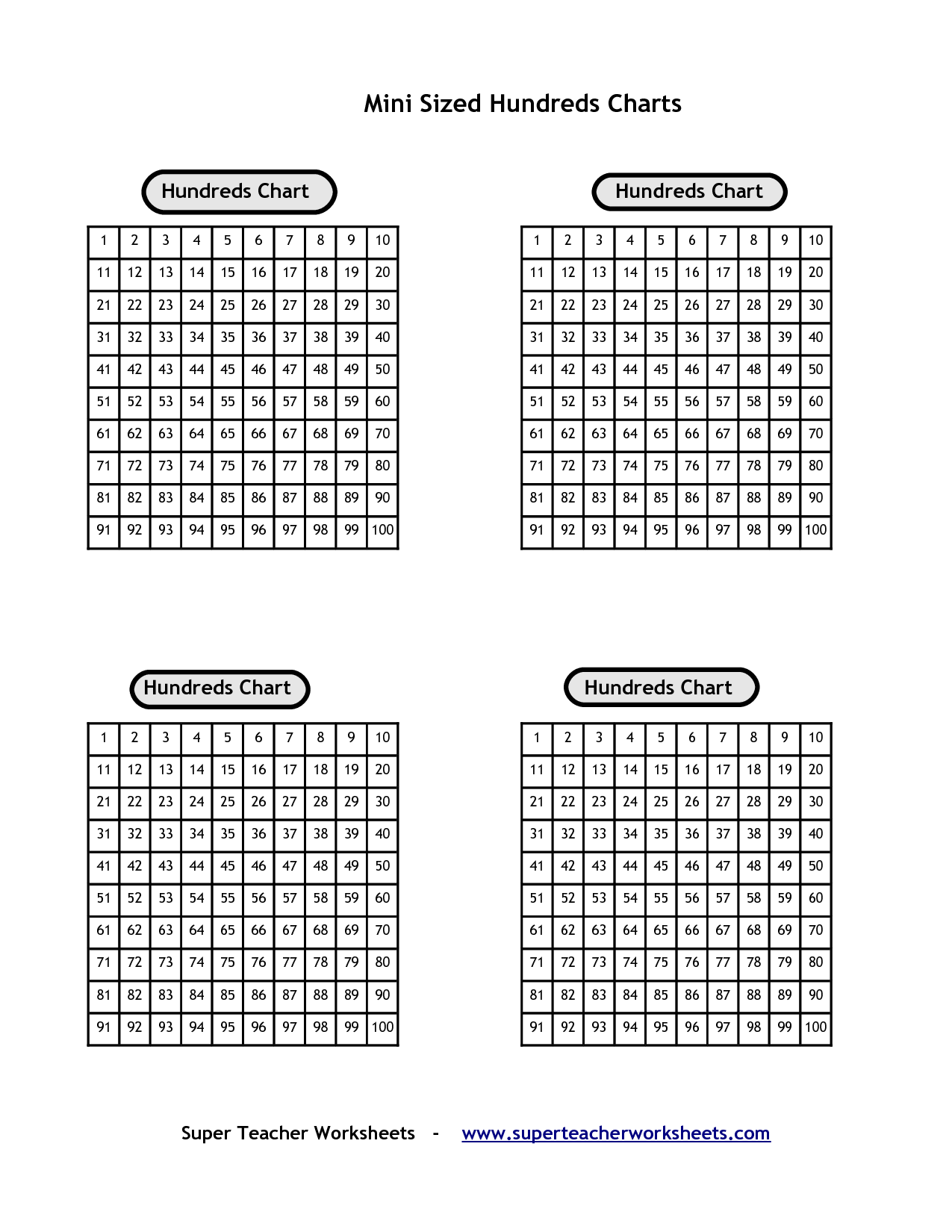 Printable Hundreds Chart