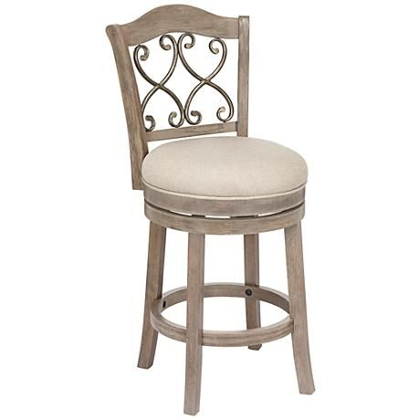 This Beautiful Putty Fabric Counter Stool Features A Swivel Seat