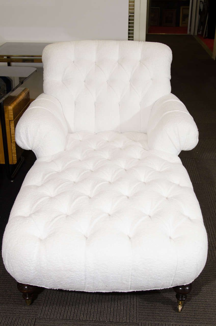 Midcentury White Tufted Terrycloth Recamier | From a unique collection of antique and modern chaises longues at https://www.1stdibs.com/furniture/seating/chaises-longues/