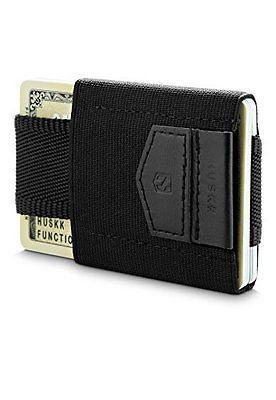 HUSKK Minimalist Slim Wallet 10 Card Holders Cash /& Keys Black