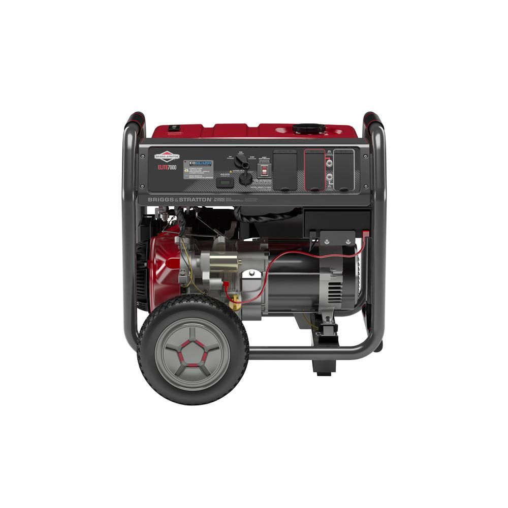Briggs Stratton 7 000 Watt Gasoline Powered Key Electric Start Portable Generator With Ohv Engine Featuring Co Guard Portable Generator Electronic Recycling Inverter Generator