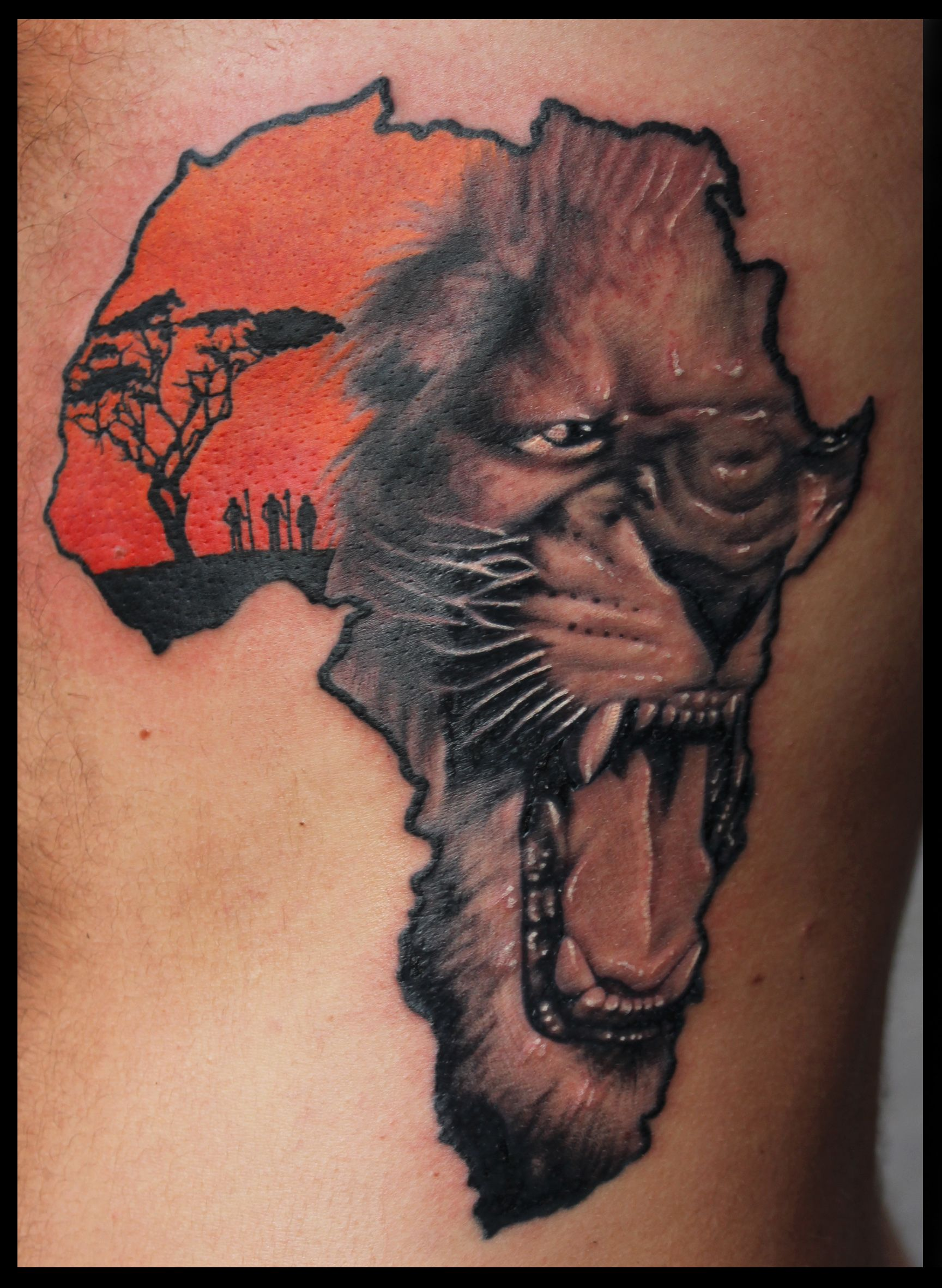 Female African Warrior Tattoos Roaring Lion Head In African Map