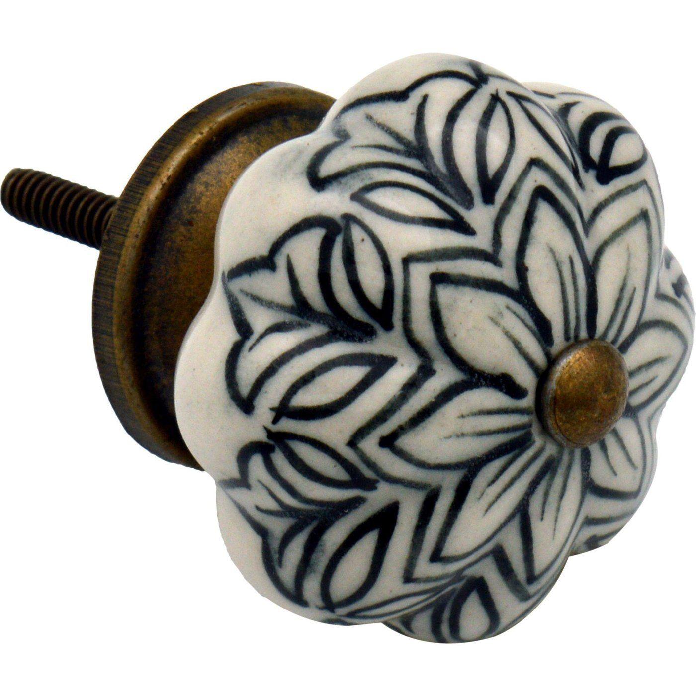 Nicola Spring Ceramic Cupboard Drawer Knob - Vintage Flower Design ...