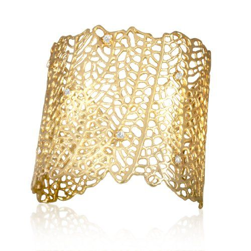 """Alex Woo """"Narissa"""" Diamond and 14k Yellow Gold Cuff 