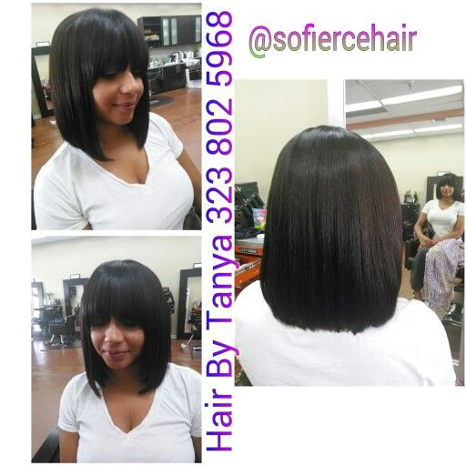 Partial Weave Sewn In China Bangs Bob Cut Bob Cut