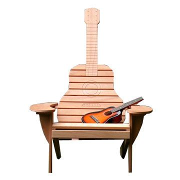 guitar shaped chair gold sequin covers wooden birch measures 104x85x130 8cm outdoor