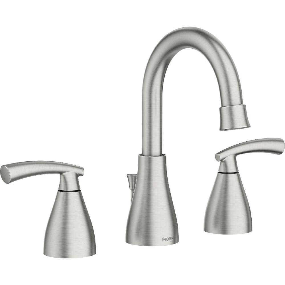 Moen Essie 8 In Widespread 2 Handle Bathroom Faucet In Spot Resist Brushed Nickel 84716srn The Home Depot In 2020 Bathroom Faucets Bathroom Faucets Brushed Nickel Alcove Shower Kits