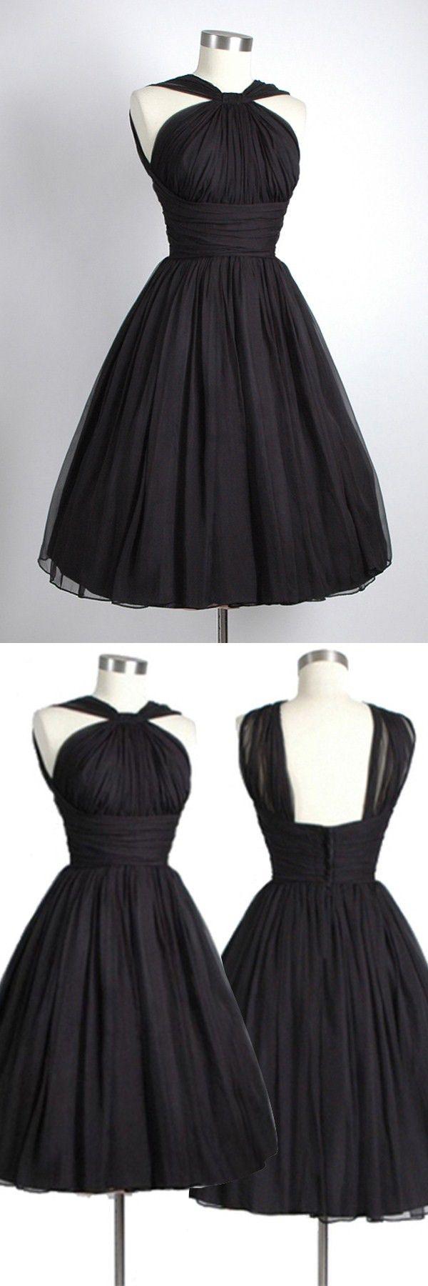 Vintage kneelength sleeveless open back black homecoming dress