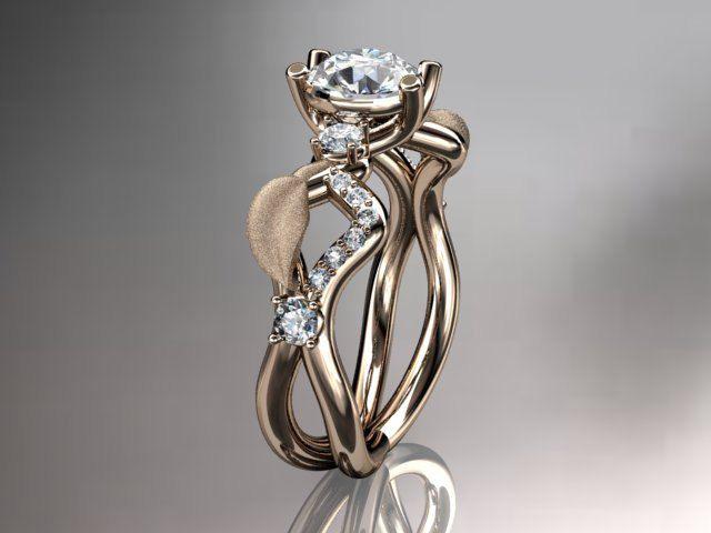 14k rose gold diamond leaf  vine wedding ring engagement ring wedding band AD
