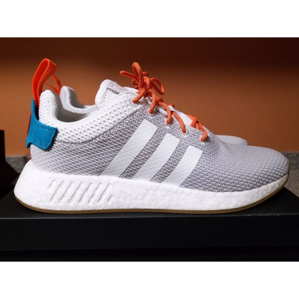 f520ed9ab Adidas NMD R2 Summer Crystal White Grey Gray Gum Orange Teal CQ3080 NMD R2  New  fashion
