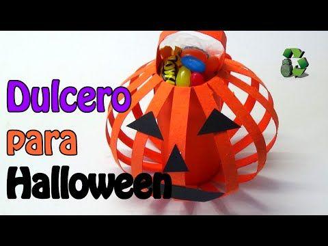 122. Manualidades para Halloween: Dulcero calabaza (Reciclaje) Ecobrisa. - YouTube