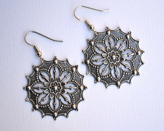 Silver Filigree Flowers . Earrings by MerelaniDesigns on Etsy, $4.00