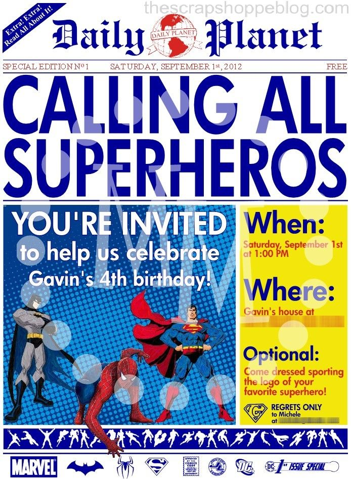 Superhero Newspaper Birthday Invitation - The Scrap Shoppe | Super ...